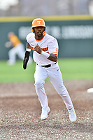 University of Tennessee Alerick Soularie (1) runs to third base base during a game against Western Illinois at Lindsey Nelson Stadium on February 15, 2020 in Knoxville, Tennessee. The Volunteers defeated Leathernecks 19-0. (Tony Farlow/Four Seam Images)