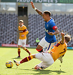 27.09.2020 Motherwell v Rangers:  Mark O'Hara tackles James Tavernier