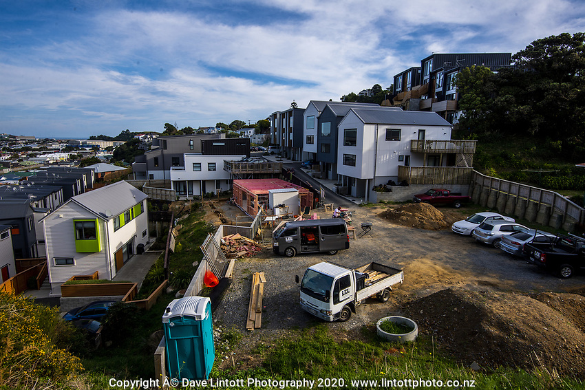 A construction site in Maupuia during Level 3 lockdown for the COVID-19 pandemic in Wellington, New Zealand on Monday, 12 May 2020. Photo: Dave Lintott / lintottphoto.co.nz