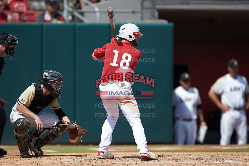 Evan Edwards (18) of the North Carolina State Wolfpack at bat against the Army Black Knights at Doak Field at Dail Park on June 3, 2018 in Raleigh, North Carolina. The Wolfpack defeated the Black Knights 11-1. (Brian Westerholt/Four Seam Images)