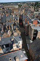 Townscape view of Dinan, a medieval town in Brittany, France.