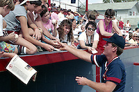 Boston Red Sox Wade Boggs signs autographs during spring training circa 1989 at Chain of Lakes Park in Winter Haven, Florida.  (MJA/Four Seam Images)