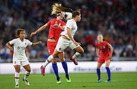 Saint Paul, MN - SEPTEMBER 03: Vanessa Marques #17 of Portugal and Samantha Mewis #3 of the United States during their 2019 Victory Tour match versus Portugal at Allianz Field, on September 03, 2019 in Saint Paul, Minnesota.