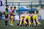 Irish Vikings (in blue) versus XBlades Rowzy Pegasi (in pink) during GFI HKFC Rugby Tens 2016 on 07 April 2016 at Hong Kong Football Club in Hong Kong, China. Photo by Juan Manuel Serrano / Power Sport Images
