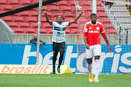 8th November 2020; Beira-Rio Stadium, Porto Alegre, Brazil; Brazilian Serie A, Internacional versus Coritiba; Sabino of Coritiba celebrates his goal in the 74th minute for 2-2