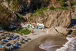Spanien, Andalusien, Provinz Málaga, Costa del Sol, Nerja: Strand, Playa de Calahonda | Spain, Andalusia, Costa del Sol, Nerja: beach, Playa de Calahonda