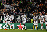Calcio, Champions League: Gruppo D - Juventus vs Siviglia. Torino, Juventus Stadium, 30 settembre 2015.  <br /> Juventus' Alvaro Morata, left, celebrates with teammates after scoring during the Group D Champions League football match between Juventus and Sevilla at Turin's Juventus Stadium, 30 September 2015.<br /> UPDATE IMAGES PRESS/Isabella Bonotto