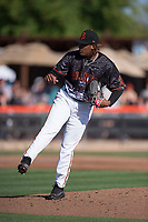 San Jose Giants starting pitcher Melvin Adon (47) follows through on his delivery during a California League game against the Lancaster JetHawks at San Jose Municipal Stadium on May 12, 2018 in San Jose, California. Lancaster defeated San Jose 7-6. (Zachary Lucy/Four Seam Images)