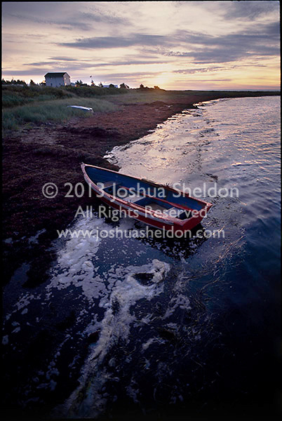Tied up rowboat with house in distance at sunset