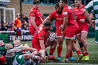 Roy Godfrey of Jersey Reds celebrates after he scores his team's 3rd try during the Championship Cup QF match between Ealing Trailfinders and Jersey Reds at Castle Bar, West Ealing, England  on 22 February 2020. Photo by David Horn.