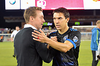 San Jose, CA - Wednesday June 28, 2017: Chris Leitch, Shea Salinas during a U.S. Open Cup Round of 16 match between the San Jose Earthquakes and the Seattle Sounders FC at Avaya Stadium.