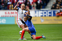 Harrison, N.J. - Sunday March 04, 2018: Lindsey Horan, Marion Torrent during a 2018 SheBelieves Cup match between the women's national teams of the United States (USA) and France (FRA) at Red Bull Arena.
