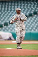 A solider throws out the first pitch before an Oklahoma City Dodgers game against the Colorado Springs Sky Sox on June 2, 2017 at Chickasaw Bricktown Ballpark in Oklahoma City, Oklahoma.  Colorado Springs defeated Oklahoma City 1-0 in ten innings.  (Mike Janes/Four Seam Images)