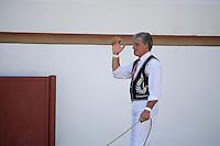 Europe/France/Aquitaine/40/Landes/ Vielle-Tursan: Michel Agruma Ganadère lors de la course landaise organisée pour la fête du village<br /> // France, Landes, Vielle Tursan,  during a bullfight at the Fete Village Festival