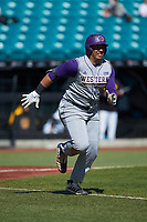 Andrew Bullock (36) of the Western Carolina Catamounts hustles down the first base line against the Kennesaw State Owls at Springs Brooks Stadium on February 22, 2020 in Conway, South Carolina. The Owls defeated the Catamounts 12-0.  (Brian Westerholt/Four Seam Images)
