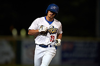 Rancho Cucamonga Quakes right fielder Donovan Casey (19) rounds the bases after hitting a home run during a California League game against the Lake Elsinore Storm at LoanMart Field on May 19, 2018 in Rancho Cucamonga, California. Lake Elsinore defeated Rancho Cucamonga 10-7. (Zachary Lucy/Four Seam Images)