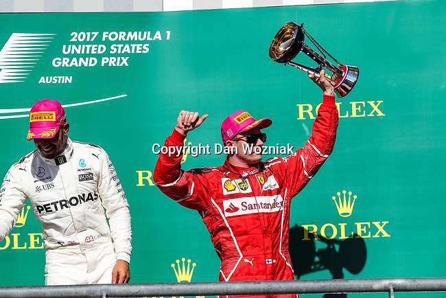 Ferrari driver Kimi Raikkonen (7) of Finland on the podium after the Formula 1 United States Grand Prix race at the Circuit of the Americas race track in Austin,Texas.