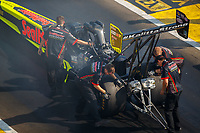 Aug 19, 2017; Brainerd, MN, USA; Crew members for NHRA top fuel driver Troy Coughlin Jr during qualifying for the Lucas Oil Nationals at Brainerd International Raceway. Mandatory Credit: Mark J. Rebilas-USA TODAY Sports