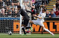 Pictured: (L-R) Bryan Ruiz and Chico Flores.<br /> Sunday 19 May 2013<br /> Re: Barclay's Premier League, Swansea City FC v Fulham at the Liberty Stadium, south Wales.