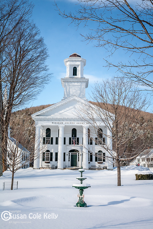 A bright winter day, Classic Vermont village, Newfane, VT