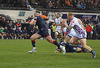 Joseph Atkinson of London Scottish Football Club breaks free to score a try during the Greene King IPA Championship match between London Scottish Football Club and Rotherham Titans at Richmond Athletic Ground, Richmond, United Kingdom on 1 January 2017. Photo by Alan  Stanford.