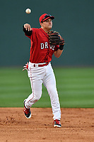 Infielder Nick Lovullo (36) of the Greenville Drive at the team's first workout of the season on Tuesday, April 4, 2017, at Fluor Field at the West End in Greenville, South Carolina. (Tom Priddy/Four Seam Images)