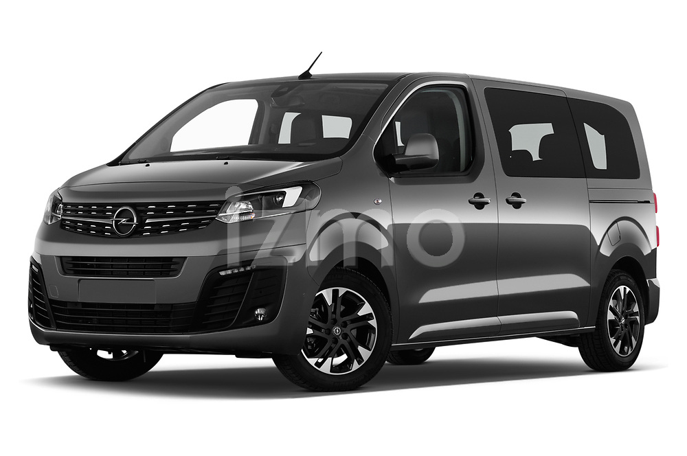 Stock pictures of low aggressive front three quarter view of a 2020 Opel Zafira-Life Business-Innovation 5 Door Mini Van