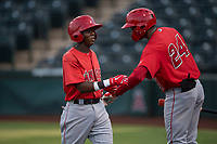 AZL Angels second baseman Daniel Ozoria (23) is congratulated by William English (24) after scoring a run during an Arizona League game against the AZL Padres 2 at Tempe Diablo Stadium on July 18, 2018 in Tempe, Arizona. The AZL Padres 2 defeated the AZL Angels 8-1. (Zachary Lucy/Four Seam Images)