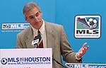 Oliver Luck, president of Houston's Major League Soccer team, addresses the media during a news conference welcoming Major League Soccer to Houston outside Houston City Hall Friday Dec. 16,2005.