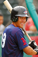 23 July 2007:  Chih-Hsien Chiang of the Greenville Drive Monday night, in a game to honor the Spartanburg Peaches and the city's baseball history. The Drive played the Savannah Sand Gnats. Photo by:  Tom Priddy/Four Seam Images