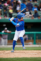 South Bend Cubs third baseman Zack Short (3) at bat during a game against the Kane County Cougars on May 3, 2017 at Four Winds Field in South Bend, Indiana.  South Bend defeated Kane County 6-2.  (Mike Janes/Four Seam Images)