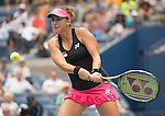 Belinda Bencic (SUI) loses the first set to Venus Williams, (USA) 6-3 at the US Open in Flushing, NY on September 4, 2015.