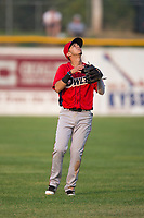 Orem Owlz shortstop Livan Soto (7) prepares to catch a pop fly during a Pioneer League game against the Missoula Osprey at Ogren Park Allegiance Field on August 19, 2018 in Missoula, Montana. The Missoula Osprey defeated the Orem Owlz by a score of 8-0. (Zachary Lucy/Four Seam Images)