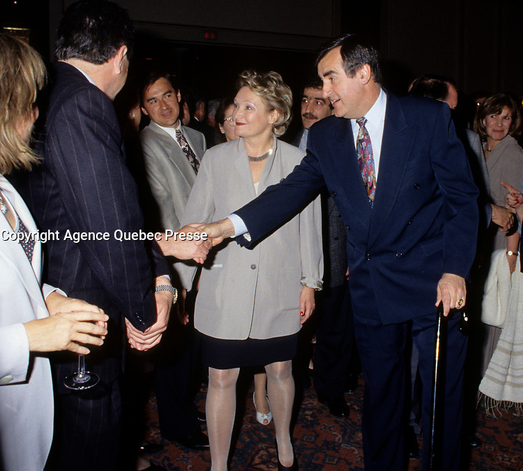 """Montreal (Qc) CANADA - File Photo - May 1996 -<br /> <br /> Lucien Bouchard,  Leader Parti Quebecois (from Jan 29, 1996 to March 2, 2001). seen in a May 1996 file photo .<br /> After the Yes side lost the 1995 referendum, Parizeau resigned as Quebec premier. Bouchard resigned his seat in Parliament in 1996, and became the leader of the Parti QuÈbÈcois and premier of Quebec.<br /> <br /> On the matter of sovereignty, while in office, he stated that no new referendum would be held, at least for the time being. A main concern of the Bouchard government, considered part of the necessary conditions gagnantes (""""winning conditions"""" for the feasibility of a new referendum on sovereignty), was economic recovery through the achievement of """"zero deficit"""". Long-term Keynesian policies resulting from the """"Quebec model"""", developed by both PQ governments in the past and the previous Liberal government had left a substantial deficit in the provincial budget.<br /> <br /> Bouchard retired from politics in 2001, and was replaced as Quebec premier by Bernard Landry."""