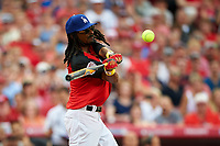 Rapper Snoop Dogg bats during the All-Star Legends and Celebrity Softball Game on July 12, 2015 at Great American Ball Park in Cincinnati, Ohio.  (Mike Janes/Four Seam Images)