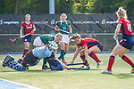 Mannheim, Germany, October 18: During the 1. Bundesliga women fieldhockey match between Mannheimer HC (red) and Uhlenhorst Muelheim (green) on October 18, 2020 at Am Neckarkanal in Mannheim, Germany. Final score 1-0 (HT 0-0). (Copyright Dirk Markgraf / www.265-images.com) *** Toni Meister #32 of Uhlenhorst Muelheim, Isabella Schmidt #30 of Mannheimer HC