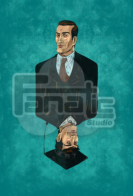 Illustrative image of businessman with reflection of himself wearing mortarboard representing desire for graduation