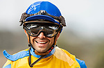 JULY 17, 2021: Umberto Rispoli smiles after winning a race at Del Mar Fairgrounds in Del Mar, California on July 17, 2021. Evers/Eclipse Sportswire/CSM