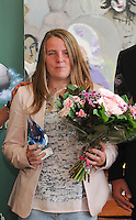 """20160605 – OOSTENDE , BELGIUM :  winner of """" player with the most scored goals in first division"""" Lucinda Michez pictured during the 2nd edition of the Sparkle award ceremony , Sunday 5 June 2016 , in Oostende . The Sparkle  is an award for the best female soccer player during the season 2015-2016 comparable to the Golden Shoe or Boot / Gouden Schoen / Soulier D'or for Men in Belgium . PHOTO SPORTPIX.BE / DIRK VUYLSTEKE"""