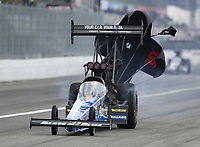 Feb 9, 2020; Pomona, CA, USA; NHRA top fuel driver Clay Millican during the Winternationals at Auto Club Raceway at Pomona. Mandatory Credit: Mark J. Rebilas-USA TODAY Sports