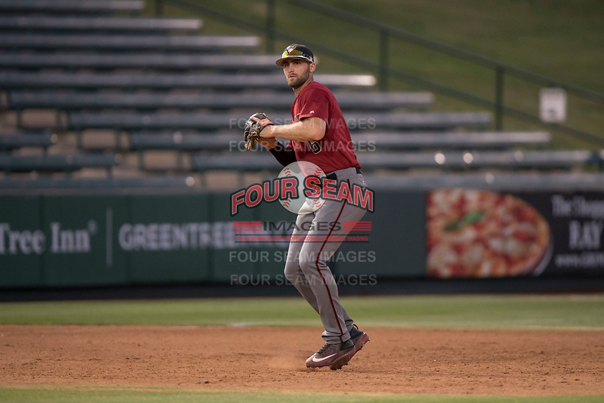 AZL Diamondbacks third baseman Joe Gillette (6) prepares to make a throw to first base during an Arizona League game against the AZL Angels at Tempe Diablo Stadium on June 27, 2018 in Tempe, Arizona. The AZL Angels defeated the AZL Diamondbacks 5-3. (Zachary Lucy/Four Seam Images)