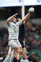 Matthew Steele of Cambridge University (left) and Jason Law of Oxford University compete in the lineout during the 131st Varsity Match between Oxford University and Cambridge University at Twickenham on Thursday 06 December 2012 (Photo by Rob Munro)