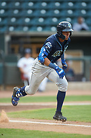 Michael Gigliotti (23) of the Wilmington Blue Rocks hustles down the first base line against the Winston-Salem Warthogs at BB&T Ballpark on July 17, 2019 in Winston-Salem, North Carolina. The Blue Rocks defeated the Warthogs 4-1. (Brian Westerholt/Four Seam Images)