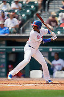Buffalo Bisons third baseman Darnell Sweeney (29) at bat during a game against the Pawtucket Red Sox on June 28, 2018 at Coca-Cola Field in Buffalo, New York.  Buffalo defeated Pawtucket 8-1.  (Mike Janes/Four Seam Images)