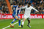 Real Madrid´s Isco (R) and Espanyol´s Javi Lopez during 2015/16 La Liga match between Real Madrid and Espanyol at Santiago Bernabeu stadium in Madrid, Spain. January 31, 2016. (ALTERPHOTOS/Victor Blanco)