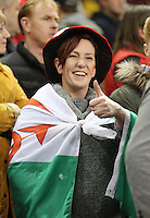 Pictured: Thumbs up for a welsh supporter Saturday 22 November 2014<br />