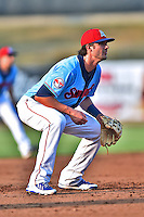 Tennessee Smokies third baseman Kris Bryant #17 during a game against the Birmingham Barons at Smokies Park on May 31, 2014 in Kodak, Tennessee. The Barons defeated the Smokies 2-1. (Tony Farlow/Four Seam Images)