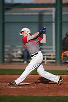 Carson Phillips (8) of Delmar Sr High School in Delmar, Delaware during the Baseball Factory All-America Pre-Season Tournament, powered by Under Armour, on January 14, 2018 at Sloan Park Complex in Mesa, Arizona.  (Zachary Lucy/Four Seam Images)