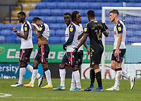 Bolton Wanderers' players show their dejection in defeat at the end of the match <br /> <br /> Photographer Andrew Kearns/CameraSport<br /> <br /> The EFL Sky Bet League Two - Bolton Wanderers v Oldham Athletic - Saturday 17th October 2020 - University of Bolton Stadium - Bolton<br /> <br /> World Copyright © 2020 CameraSport. All rights reserved. 43 Linden Ave. Countesthorpe. Leicester. England. LE8 5PG - Tel: +44 (0) 116 277 4147 - admin@camerasport.com - www.camerasport.com