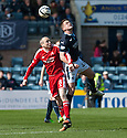 Aberdeen's Willo Flood and Dundee's Stephen McGinn challenge for the ball.